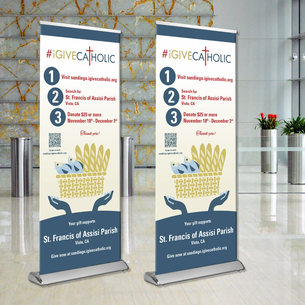 2-Pack of #iGiveCatholic Standing Banners from Faith in Marketing, San Diego
